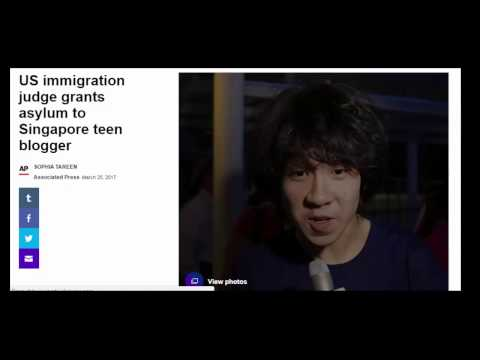 US immigration judge grants asylum to Singapore teen blogger