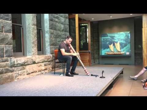David Williams, playing didgeridoo at Bishop Museum