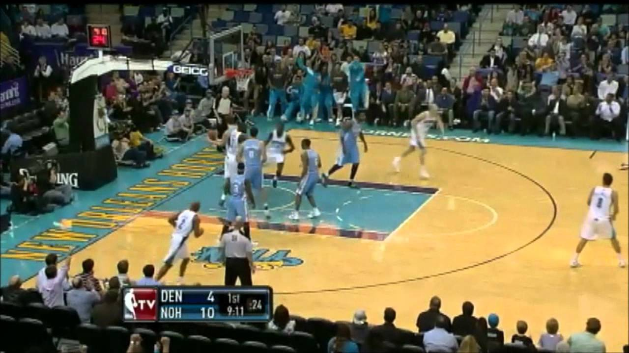 Al-Farouq Aminu facial dunk on Mozgov (New Orleans Hornets vs Denver Nuggets) 01/06/2012