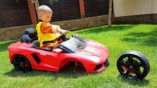 FUNNY BABY The wheel went down Ride on POWER WHEEL Red Car Fixing Wheel Щенячий Патруль