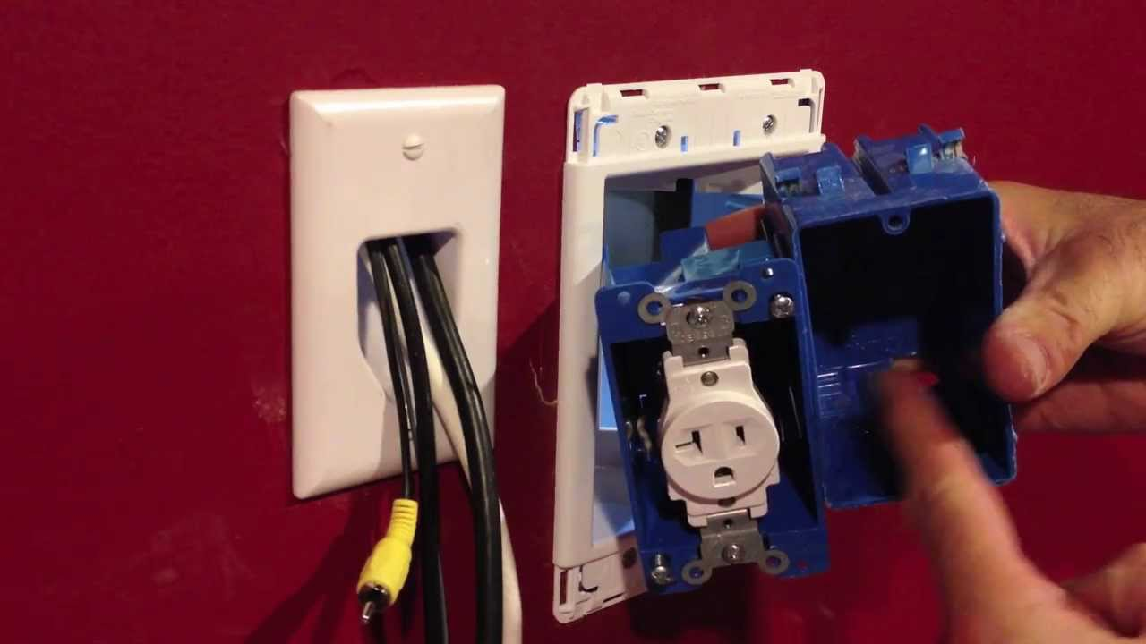 installing a recessed outlet box for wall mount tv s youtube rh youtube com arlington recessed tv wiring box Recessed TV Box Surge Combo