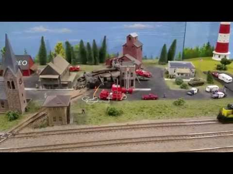 A Building on Fire in a Model Railroad
