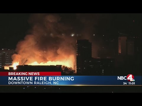 Massive fire burns in Raleigh, NC