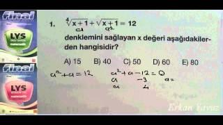 Final 2013 LYS  Matematik Soru Bankası  1.Test 1.Soru