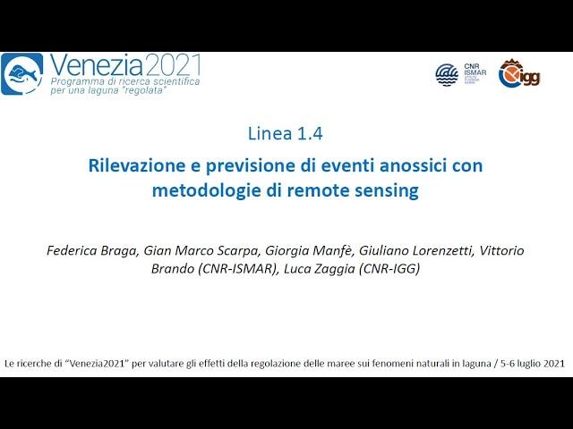 Rilevazione e previsione di eventi anossici con metodologie di remote sensing