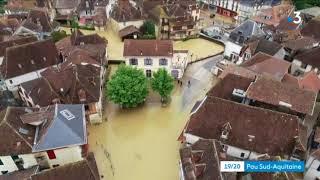Images drone des inondations à Salies de Béarn 13 juin 2018