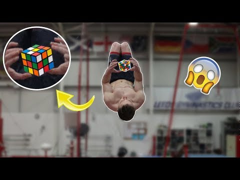 RUBIK'S CUBE ON A TRAMPOLINE! {WORLDS FIRST}