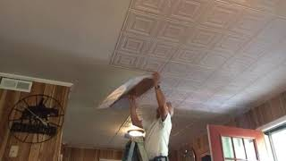 One Person Install For 2 x 4 Glue Up Ceiling Panels