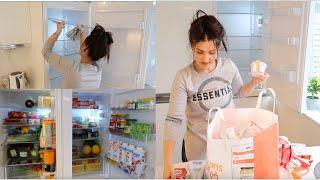 نظفت ورتبت الثلاجة صارت تلمع لمع😍مشترياتي للمواد الغذائية