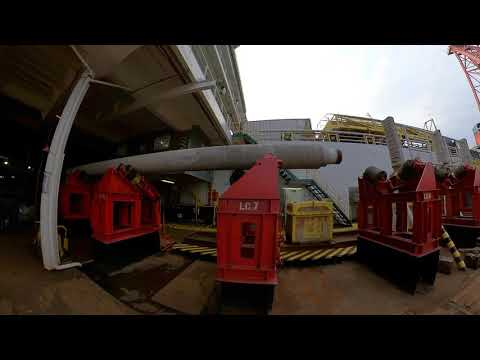 walking around a Derrick Pipe-laying Barge / Air Diving System