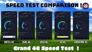 Jio vs Vodafone vs Airtel vs Idea vs BSNL 4G | Grand 4G SpeedTest Comparison | SJHD 2019