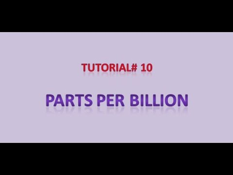 Tutorial #10 Parts per billion (ppb)