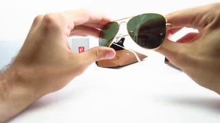 897a405de Unboxing of a Ray-Ban RB 3044 L0207, the Arista, which is Gold with G15  Green lenses. Available here .