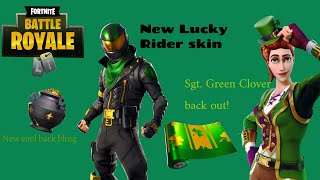 Sgt. Green Clover & New Lucky Rider Skin, Backbling & Wrap (Fortnite)