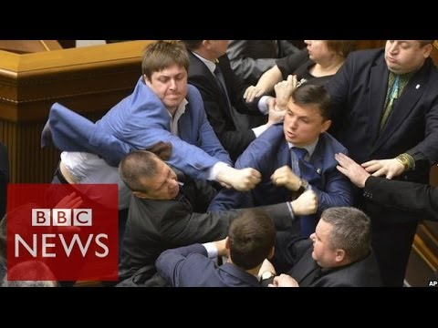 Violence breaks out at Ukraine parliament - BBC News