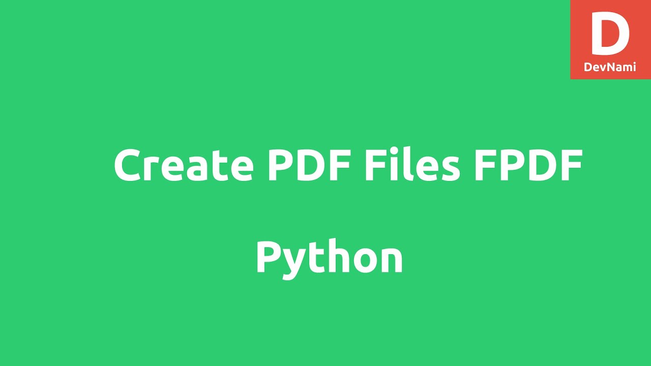 Create PDF files in Python using FPDF