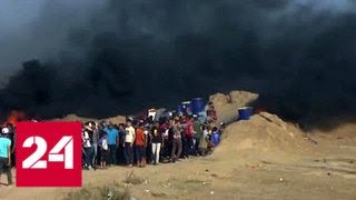 Смотреть видео ВВС Израиля нанесли авиаудар по объектам ХАМАС в секторе Газа - Россия 24 онлайн