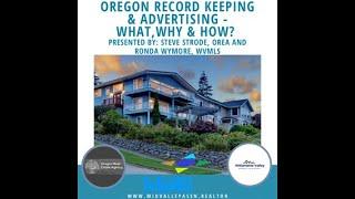 Oregon Record Keeping & Advertising - Steve Strode, OREA & Ronda Wymore, WVMLS
