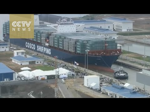 Chinese container ship sails through expanded canal