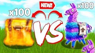 100 LLAMAS VS 100 CHEST LOOT BATTLE - Fortnite Creative Custom Game