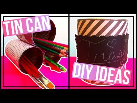 5 Tin Can DIY Ideas | Stacked Organizer, Lantern, Trash Can, & Pencil Cans