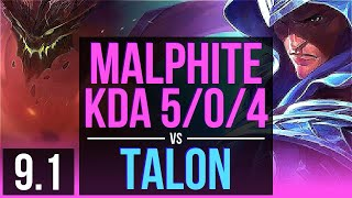 MALPHITE vs TALON (MID) | 2 early solo kills, KDA 5/0/4 | Korea Challenger | v9.1