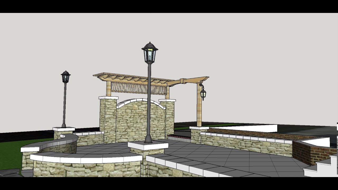 Backyard Patio Pavers, Stone walls, and Pergola Sketchup ... on Sketchup Backyard id=33269