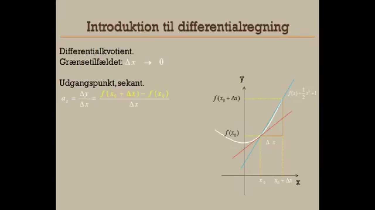 Intro til differentialregning - hvad er differentialkvotienten?