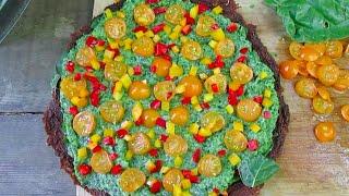 Raw Vegan Pizza With Smoky Tomato Crust & Basil Pesto