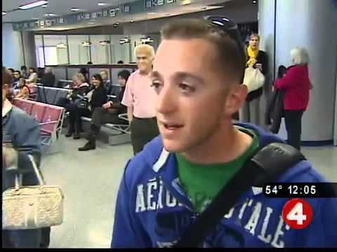 Marine gets hero's welcome at airport