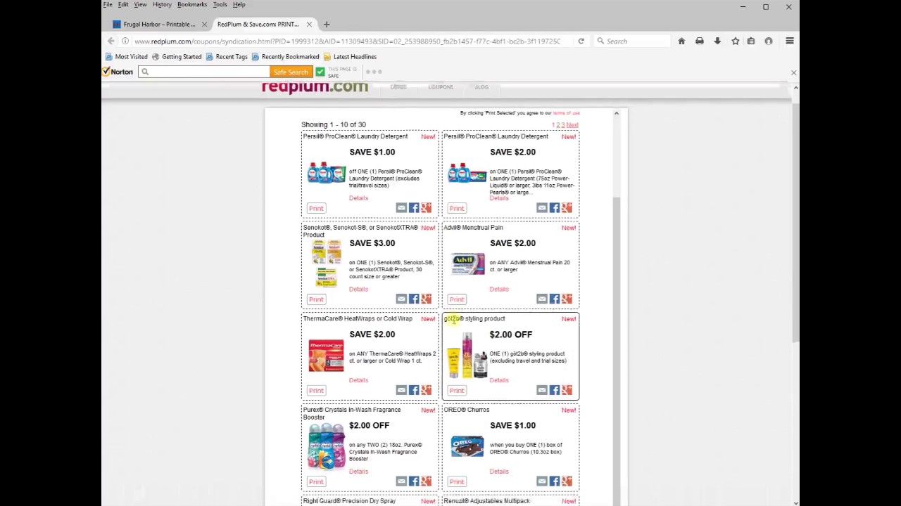 Print Redplum Coupons on FrugalHarbor com using Firefox