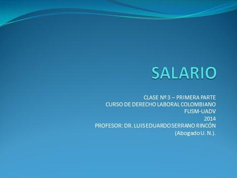 Tutoría Nº 3-1: Aspectos Legales Del Salario En Colombia