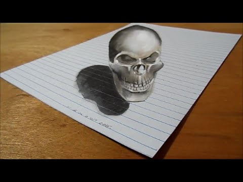 Drawing 3d bad skull trick art on lined paper how to draw skull youtube