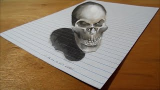 Drawing 3D Bad Skull - Trick Art on Lined Paper - How to Draw Skull
