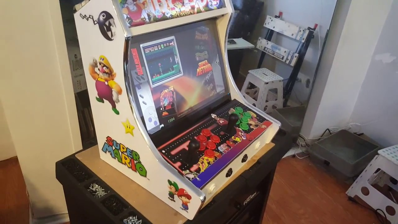 Nintendo Themed Bartop Arcade In White With Chrome T Molding.plays Over 10k  Games