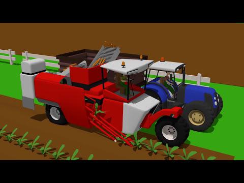 Blue Tractor and Carrot Harvester Machine   Niebieski Ciągnik i maszyna do zbioru Marchewek Bajka