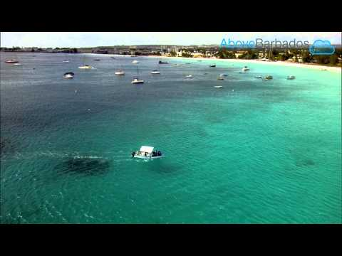 Aerial footage of Carlisle Bay, Barbados