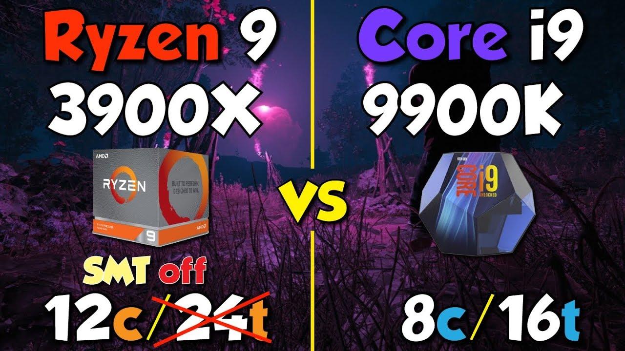 i9 9900K  vs Ryzen 9 3900X (SMT Off) : Amd