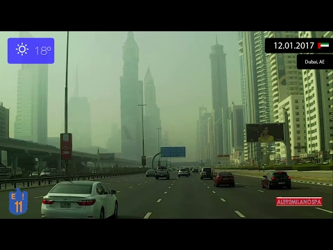 Driving through Dubai (UAE) from Dubai International Airport to Jebel Ali 12.01.2017 Timelapse x4