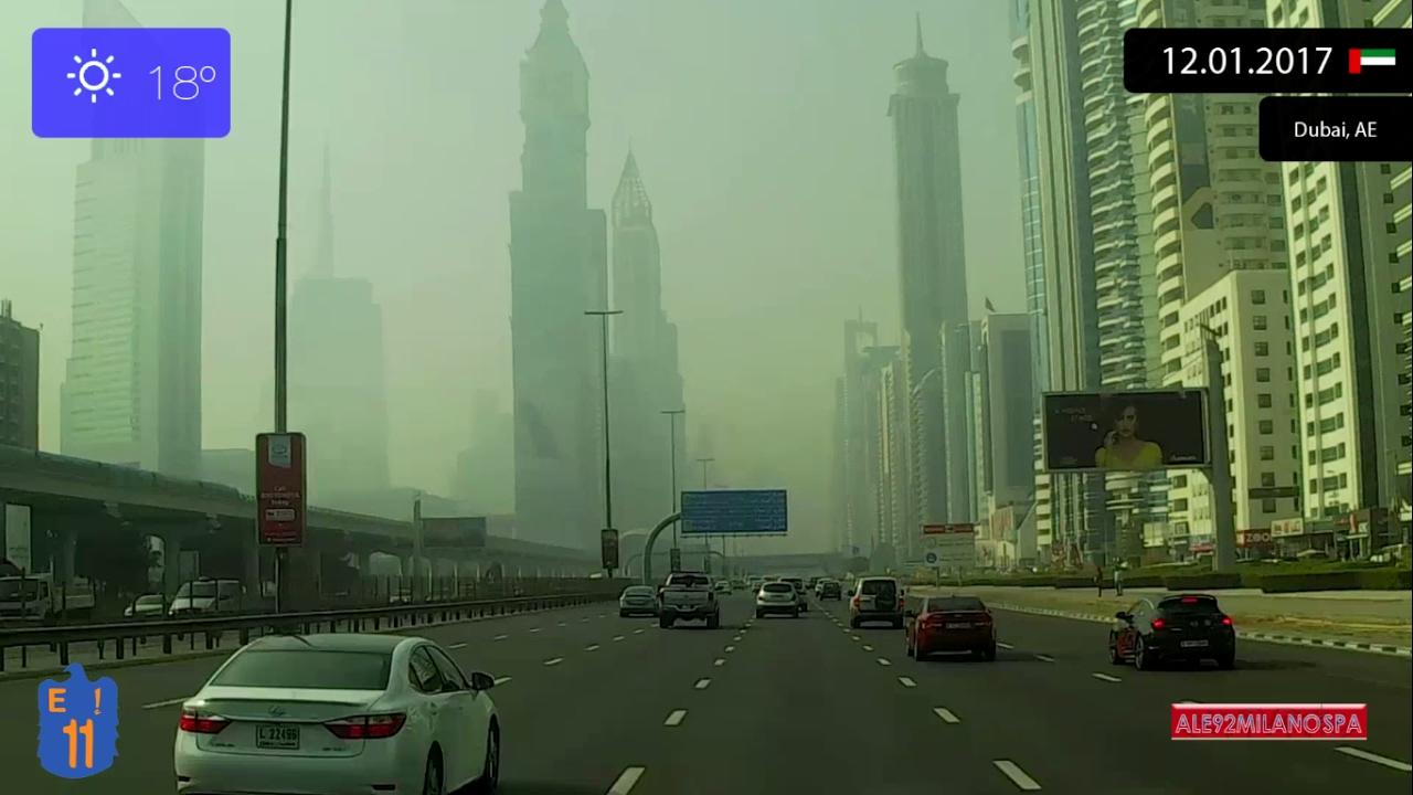 Driving Through Dubai Uae From Dubai International Airport To Jebel Ali 12 01 2017 Timelapse