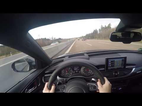 Audi RS6 Performance German Autobahn POV 300 km/h 180 mph acceleration 605hp high speed 2017 2016 4G