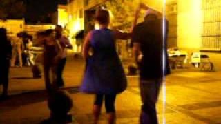Claire dances salsa in El Cafe del Carmen. Go Claire!