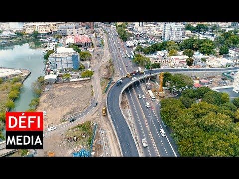 Port-Louis : l'autopont Decaen vu du ciel