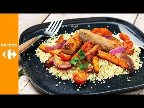 saucisse-au-four-avec-patates-douces-et-couscous
