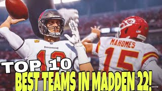 🏆U CAN'T LOSE!🏆 Top 10 Best Teams To Use In Madden NFL 22 for CFM, Franchise Mode & Regs  Gameplay