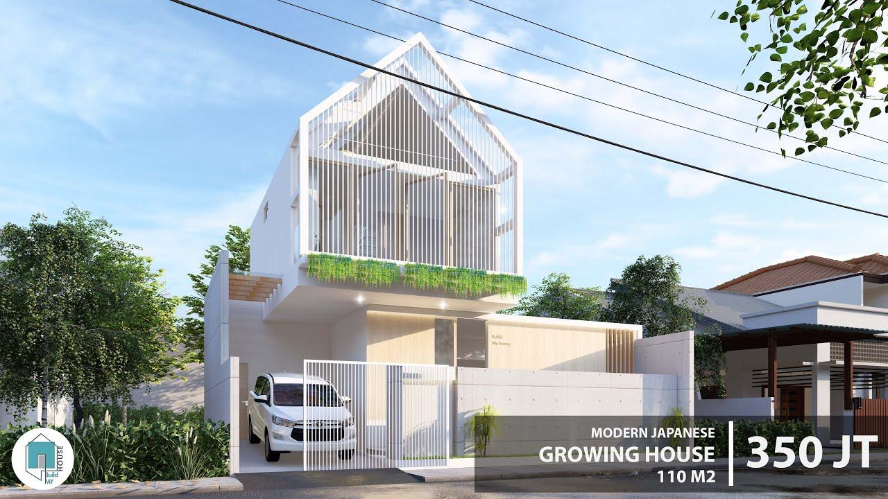 Desain Rumah Tumbuh bergaya Jepang Modern di lahan 88 m2