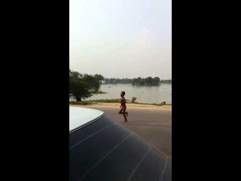 Naked boy running