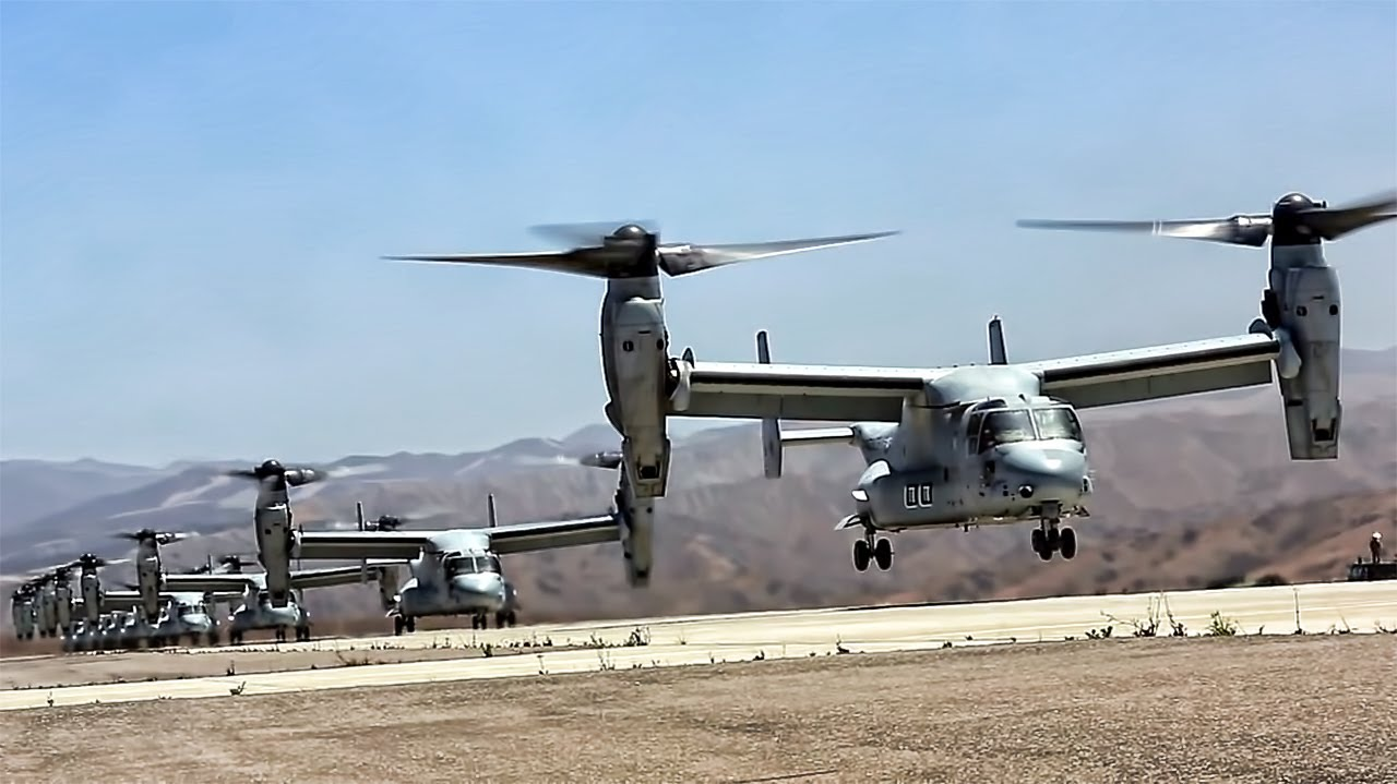 Incredible Video: MV-22 Ospreys Mass Airlift Troops