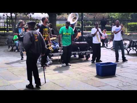 Live music in Jackson Square New Orleans with a great dancer