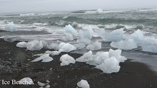 jokulsarlon glacier lagoon black sand iceberg beach in depth